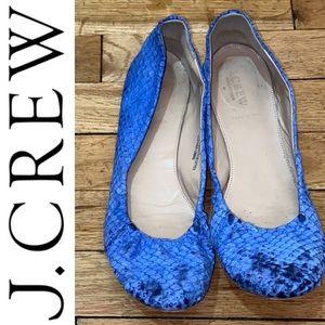 """CeCe"" Snakeskin Cornflower Blue Ballet Flats"